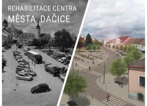 Rehabilitace centra města Dačice – srovnávací snímky